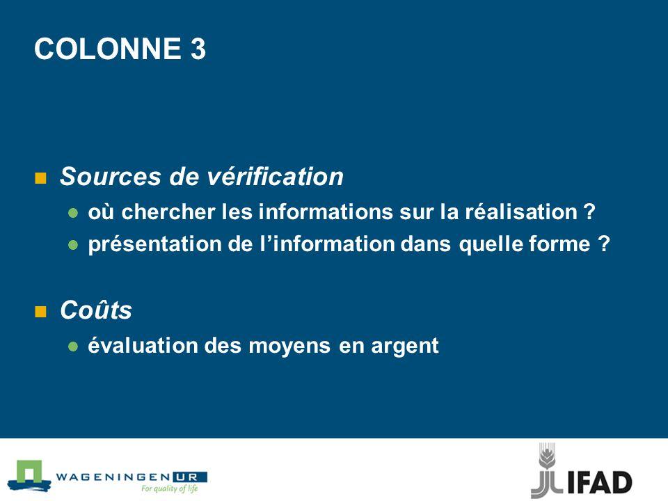 COLONNE 3 Sources de vérification Coûts