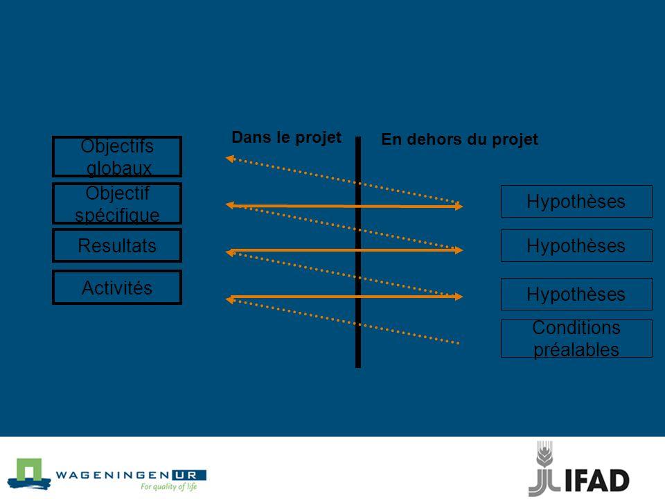 Objectifs globaux Objectif spécifique Hypothèses Resultats Hypothèses