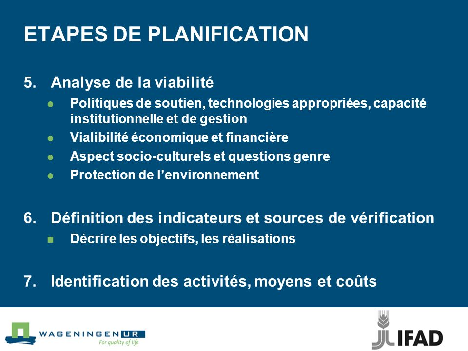 ETAPES DE PLANIFICATION