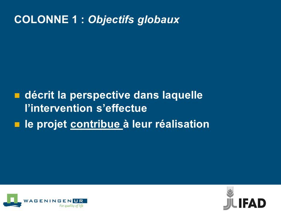 COLONNE 1 : Objectifs globaux