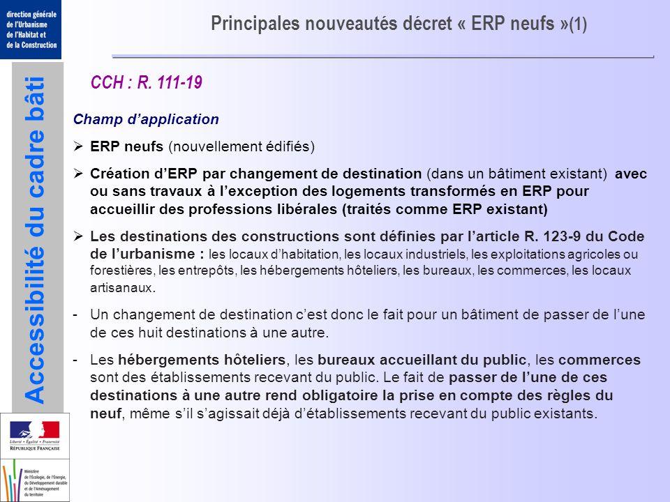 Principales nouveautés décret « ERP neufs »(1)