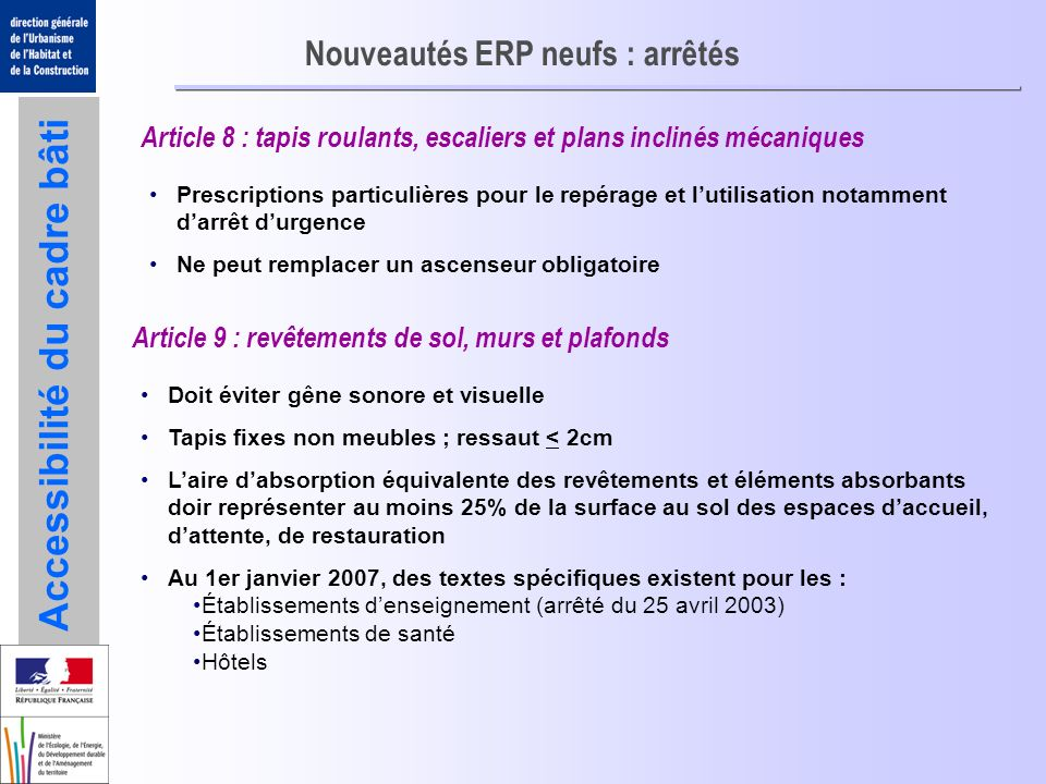 Nouveautés ERP neufs : arrêtés
