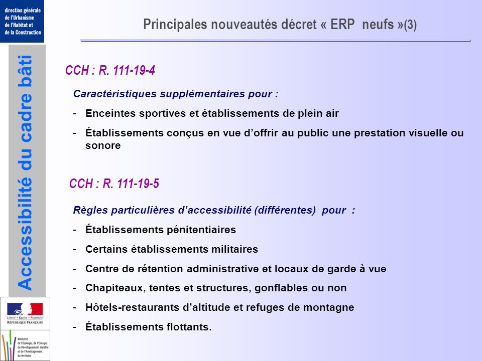 Principales nouveautés décret « ERP neufs »(3)