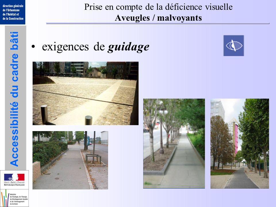 Prise en compte de la déficience visuelle Aveugles / malvoyants