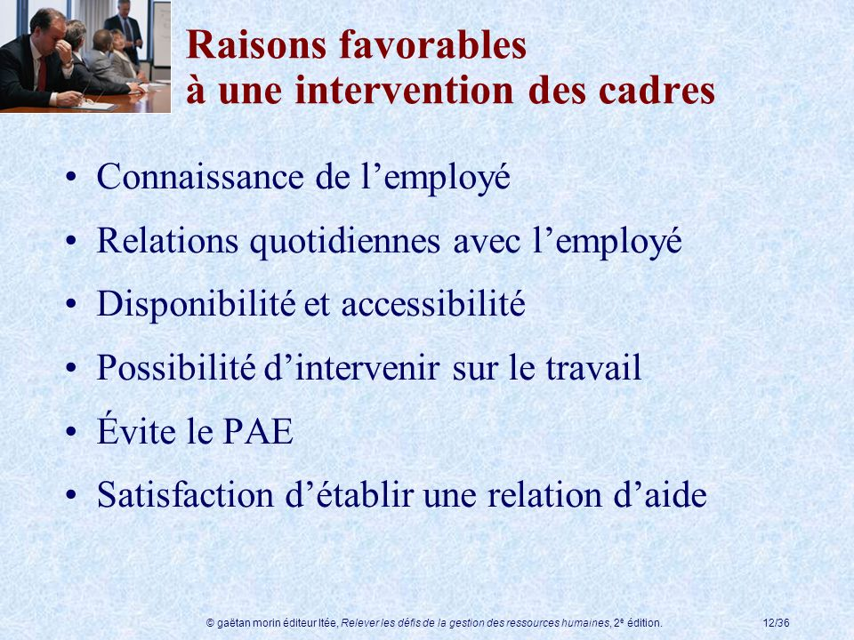 Raisons favorables à une intervention des cadres