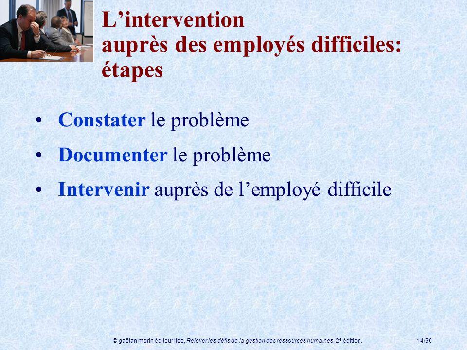 L'intervention auprès des employés difficiles: étapes