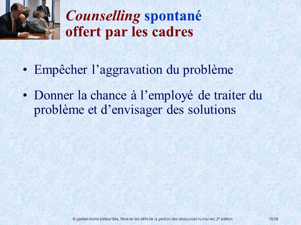 Counselling spontané offert par les cadres