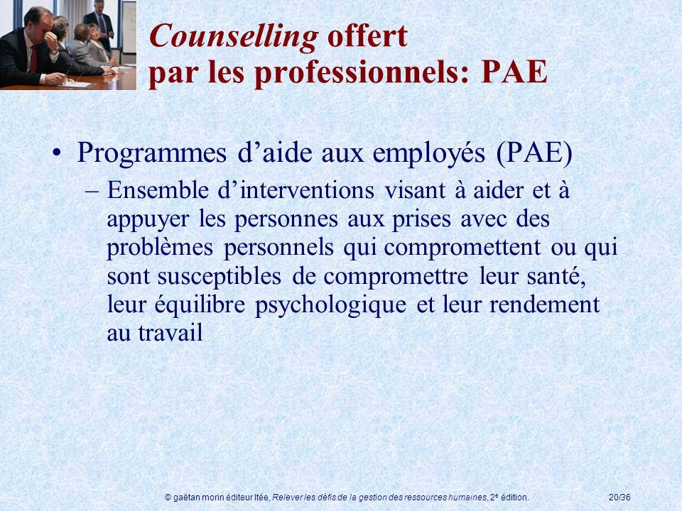 Counselling offert par les professionnels: PAE