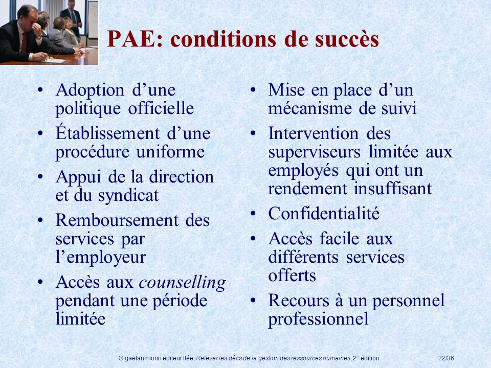 PAE: conditions de succès