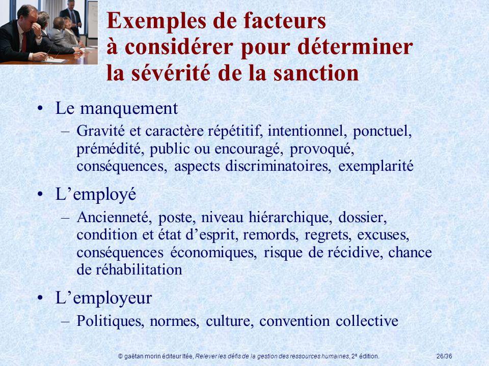 Exemples de facteurs à considérer pour déterminer la sévérité de la sanction