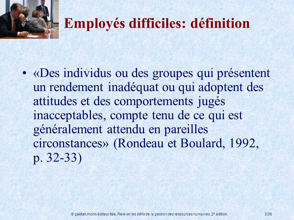 Employés difficiles: définition