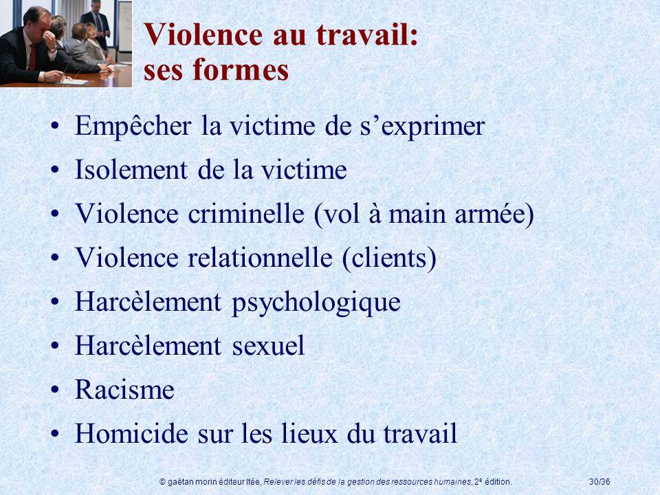 Violence au travail: ses formes
