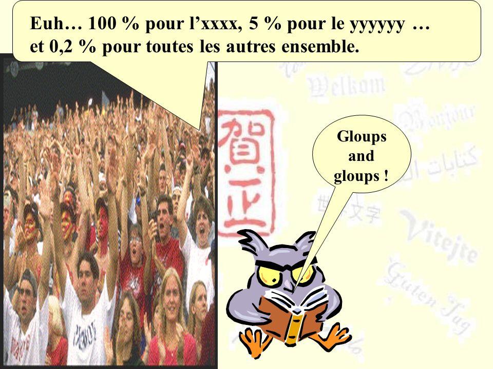 Euh… 100 % pour l'xxxx, 5 % pour le yyyyyy … et 0,2 % pour toutes les autres ensemble.