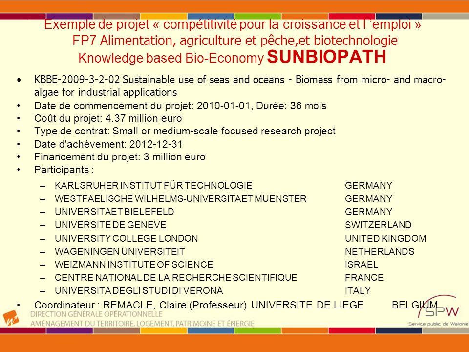 Exemple de projet « compétitivité pour la croissance et l 'emploi » FP7 Alimentation, agriculture et pêche,et biotechnologie Knowledge based Bio-Economy SUNBIOPATH