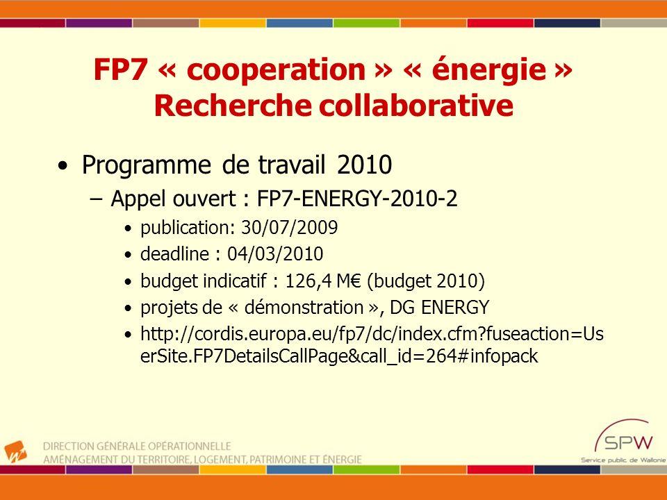 FP7 « cooperation » « énergie » Recherche collaborative