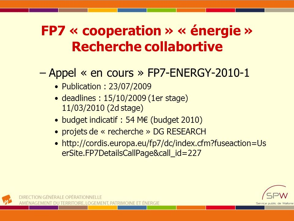 FP7 « cooperation » « énergie » Recherche collabortive