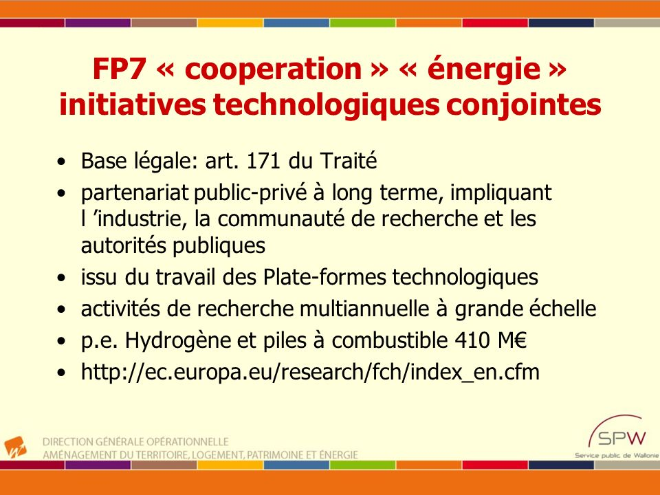 FP7 « cooperation » « énergie » initiatives technologiques conjointes