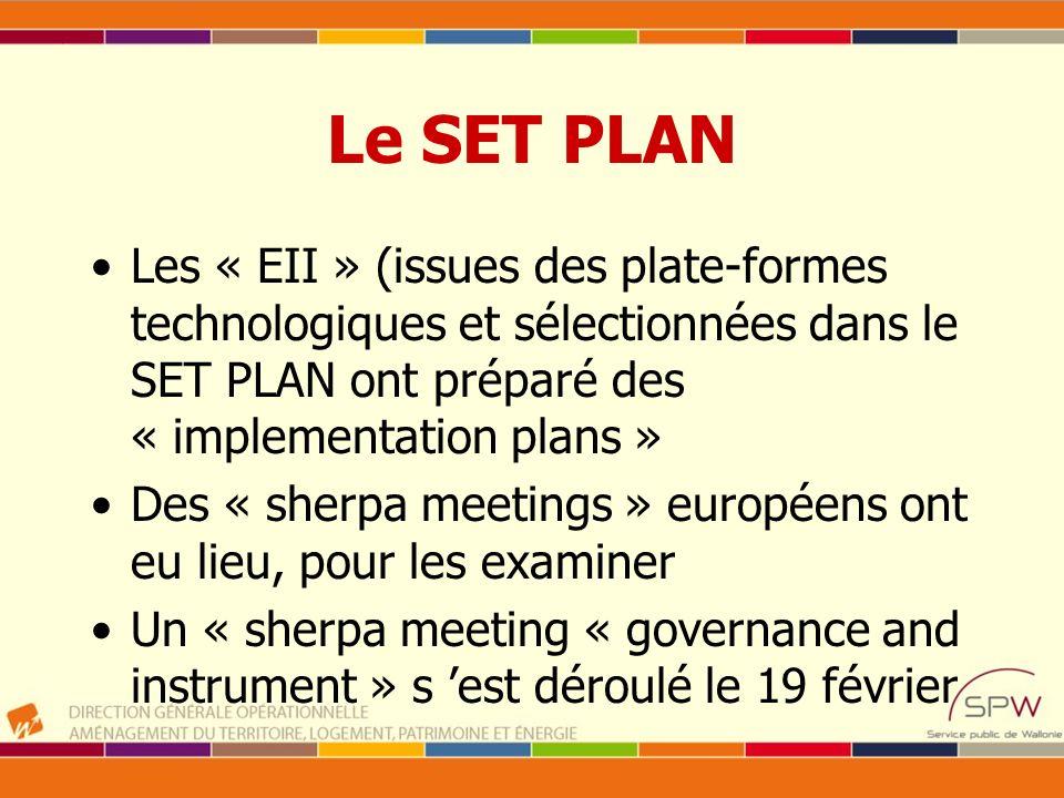 Le SET PLAN Les « EII » (issues des plate-formes technologiques et sélectionnées dans le SET PLAN ont préparé des « implementation plans »
