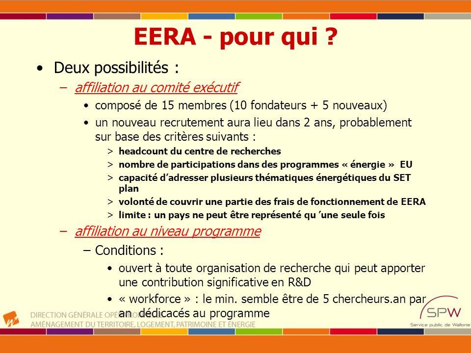 EERA - pour qui Deux possibilités : affiliation au comité exécutif