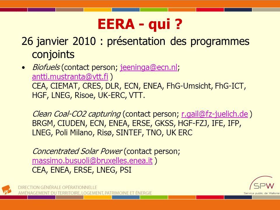 EERA - qui 26 janvier 2010 : présentation des programmes conjoints
