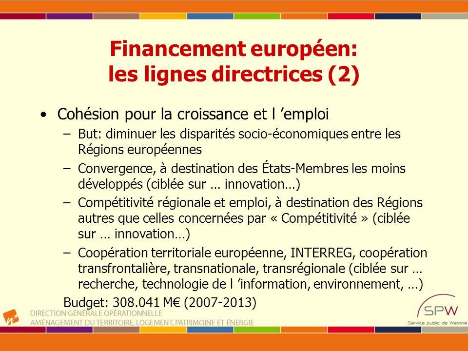 Financement européen: les lignes directrices (2)