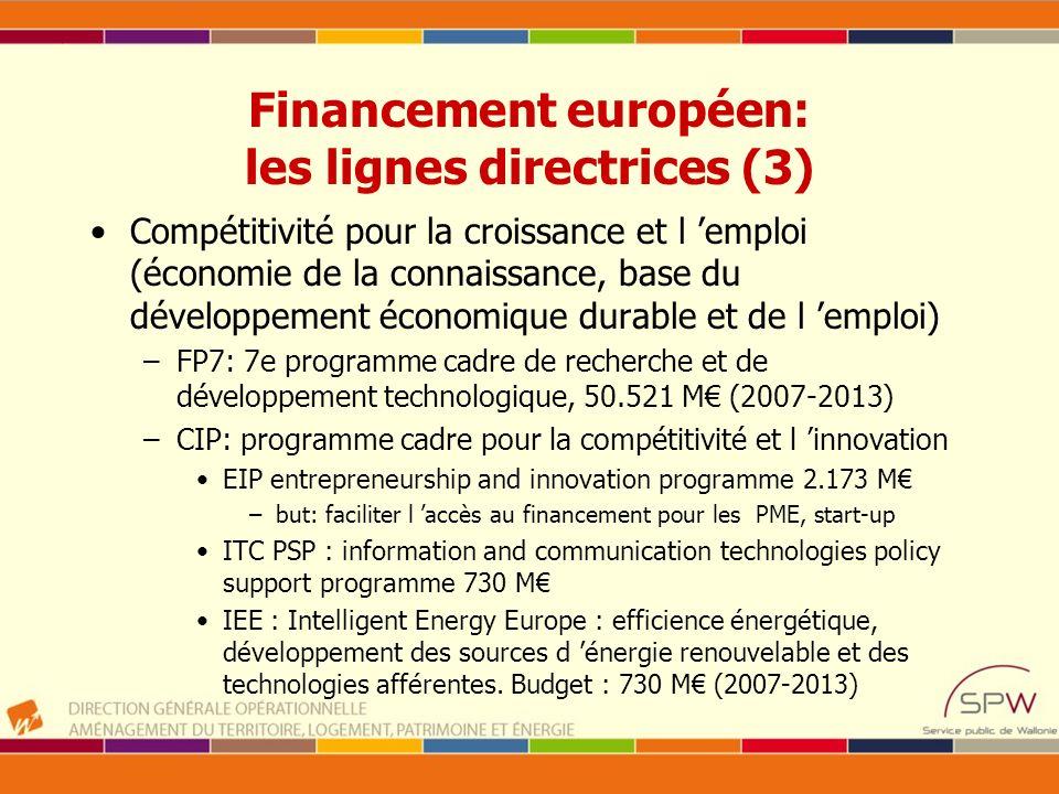 Financement européen: les lignes directrices (3)