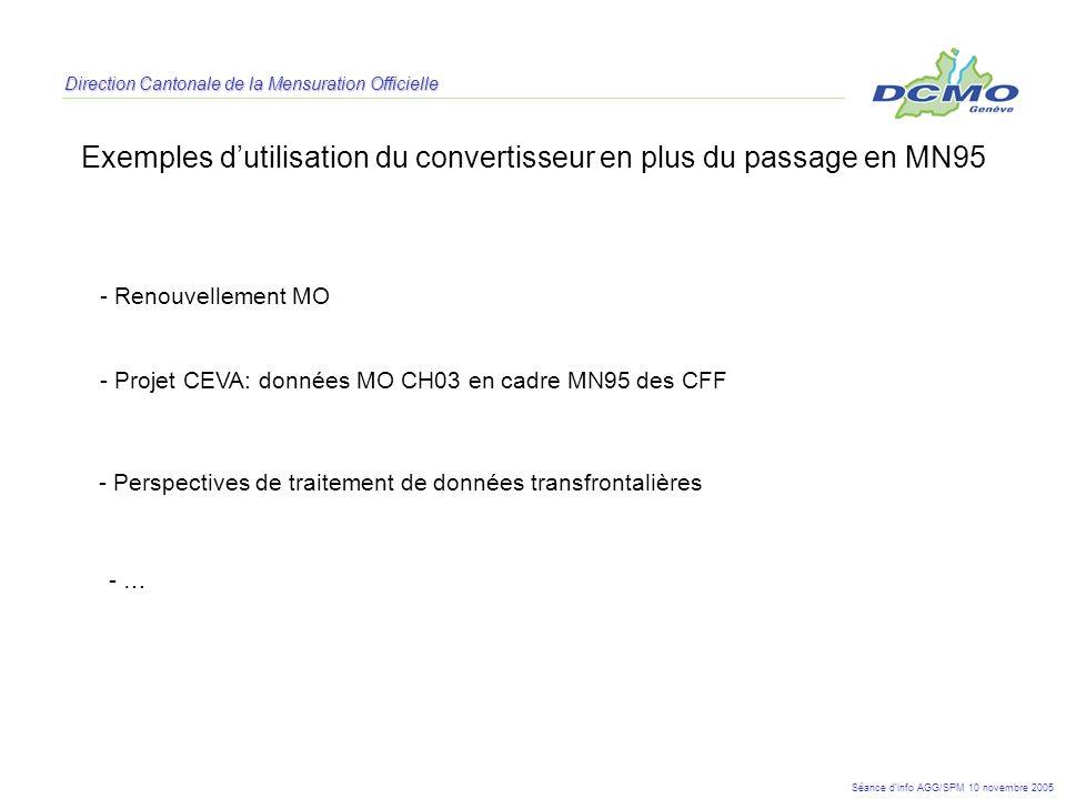 Exemples d'utilisation du convertisseur en plus du passage en MN95