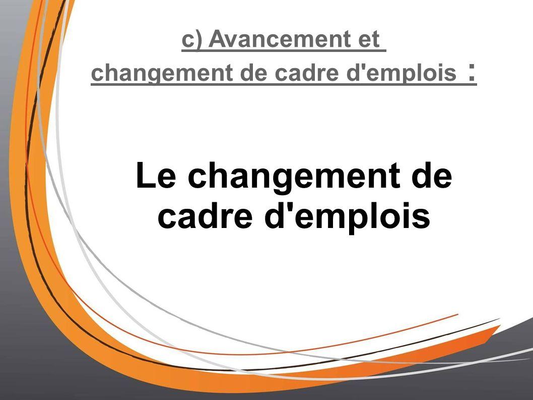 changement de cadre d emplois : Le changement de cadre d emplois