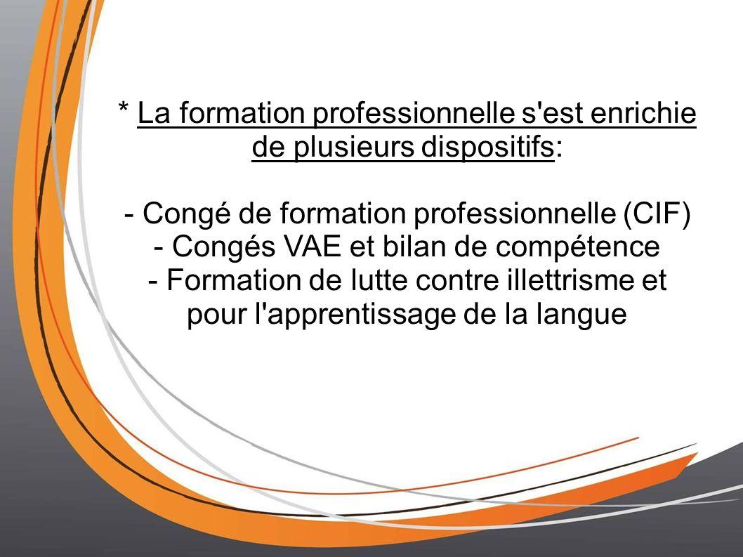 - Congé de formation professionnelle (CIF)