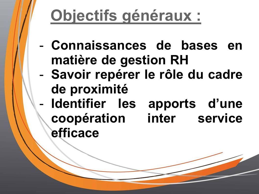 Objectifs généraux : Connaissances de bases en matière de gestion RH