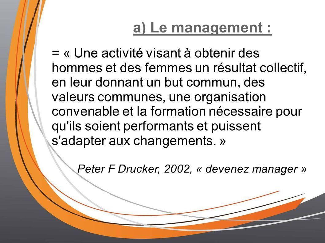 a) Le management :
