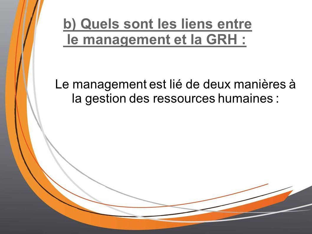 b) Quels sont les liens entre le management et la GRH :