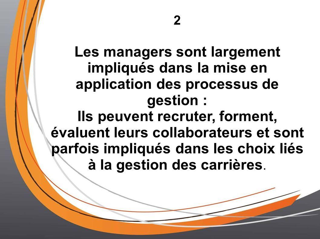2 Les managers sont largement impliqués dans la mise en application des processus de gestion :