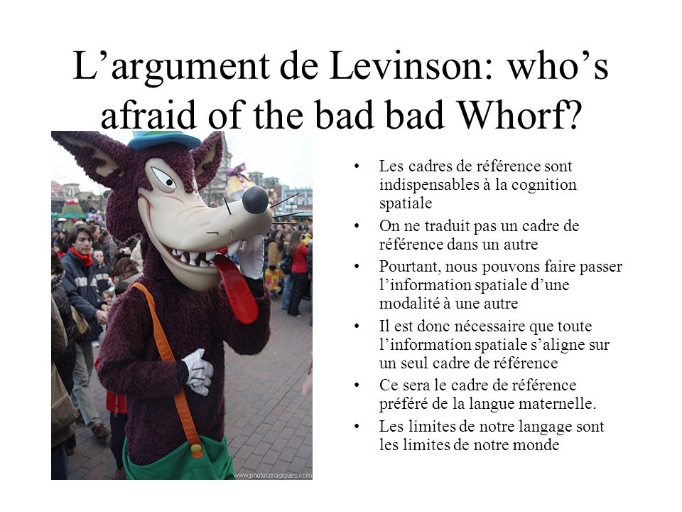 L'argument de Levinson: who's afraid of the bad bad Whorf