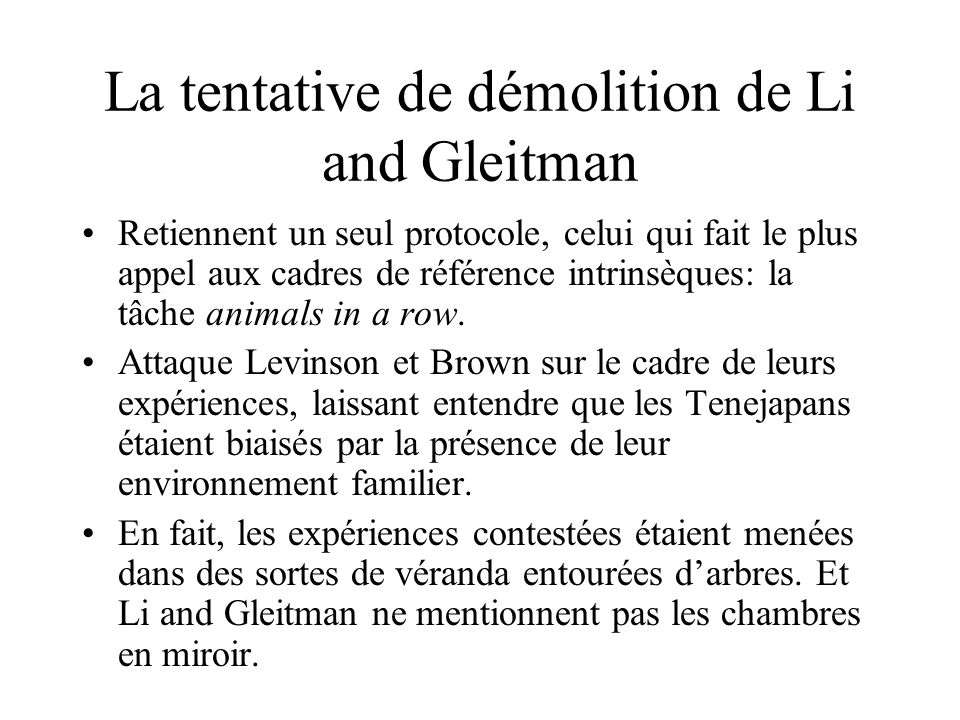 La tentative de démolition de Li and Gleitman