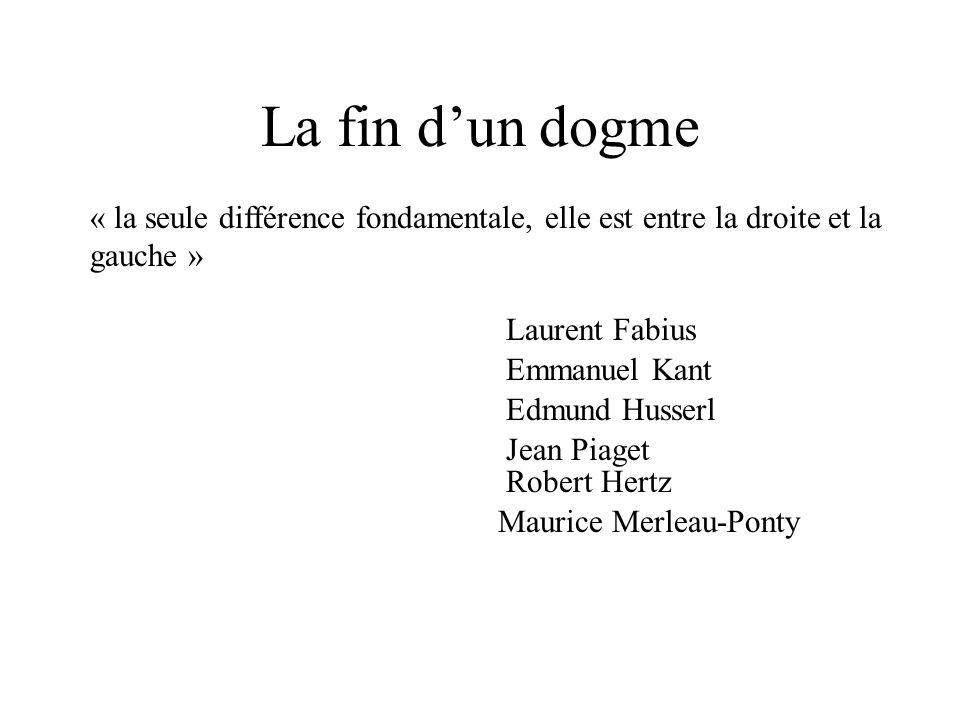 La fin d'un dogme « la seule différence fondamentale, elle est entre la droite et la gauche » Laurent Fabius.