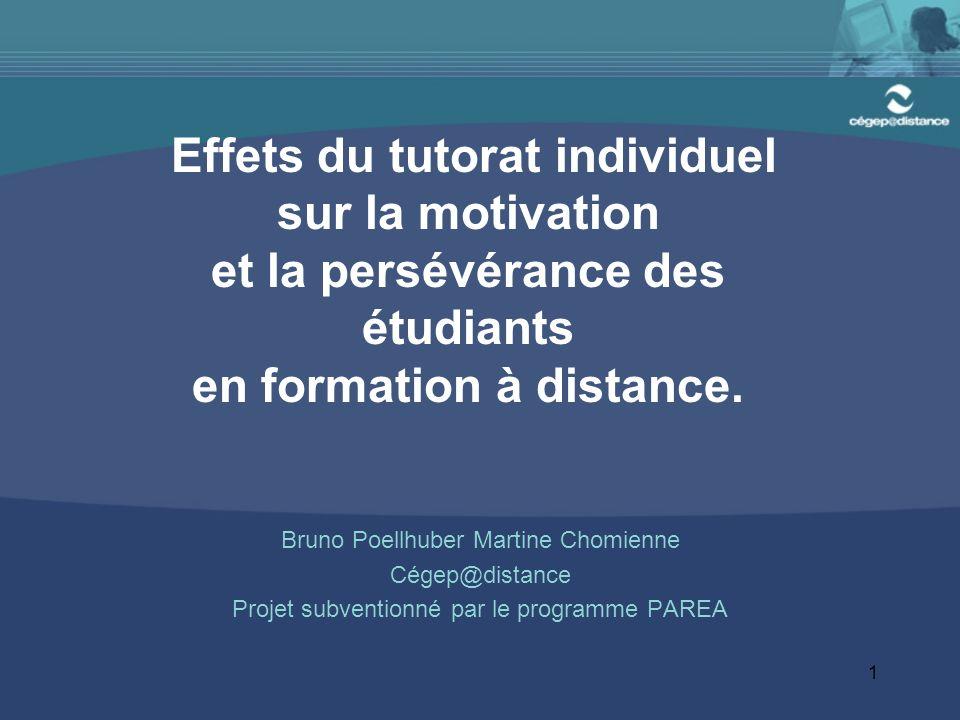 Effets du tutorat individuel sur la motivation et la persévérance des étudiants en formation à distance.