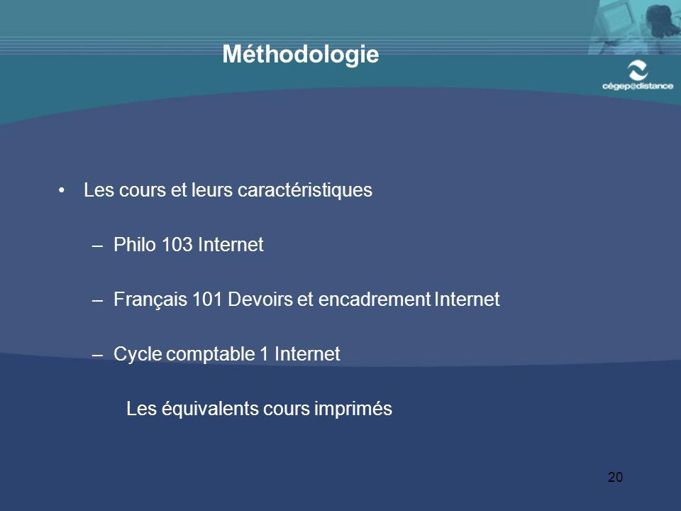 Méthodologie Les cours et leurs caractéristiques Philo 103 Internet