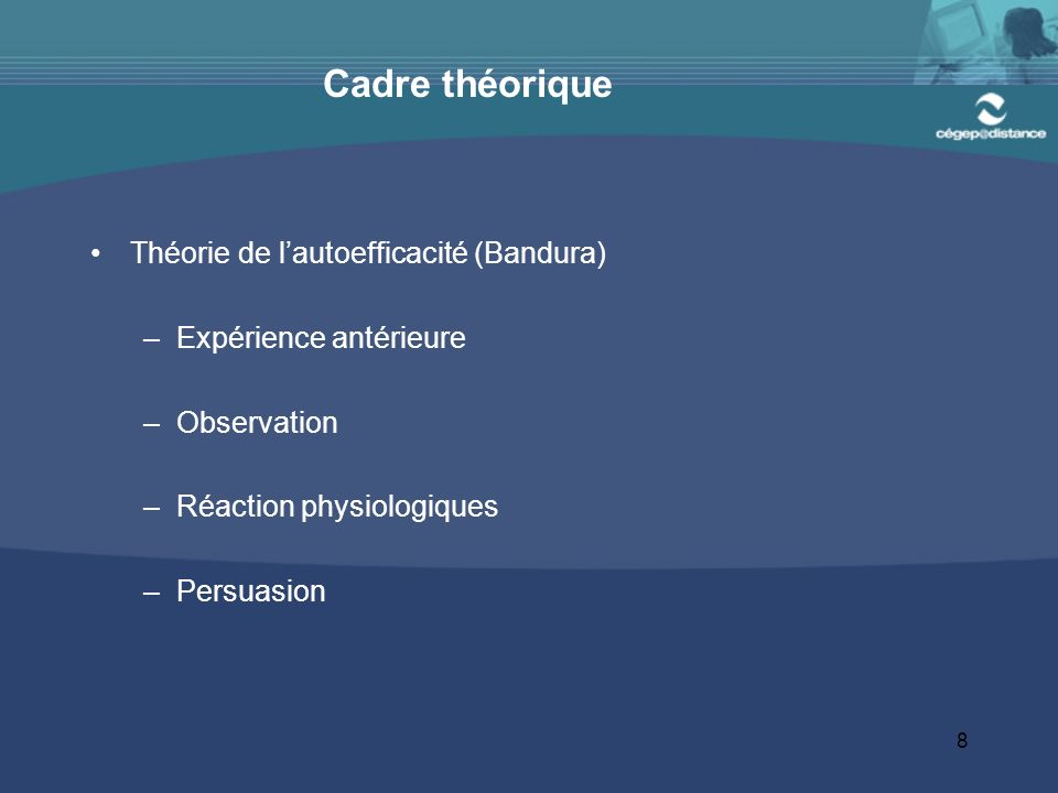 Cadre théorique Théorie de l'autoefficacité (Bandura)