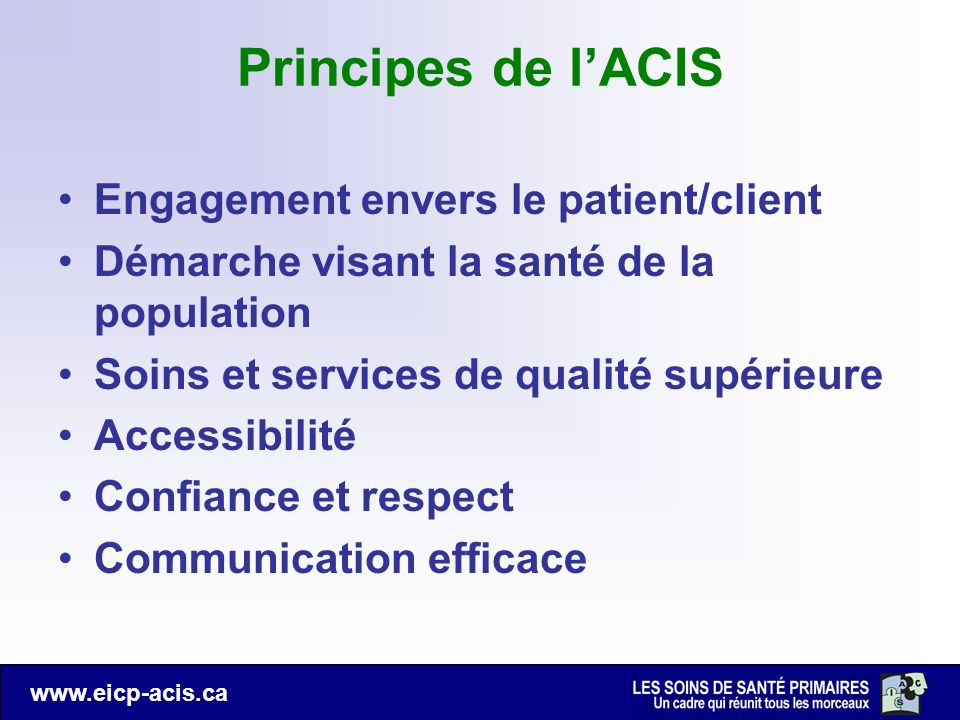 Principes de l'ACIS Engagement envers le patient/client