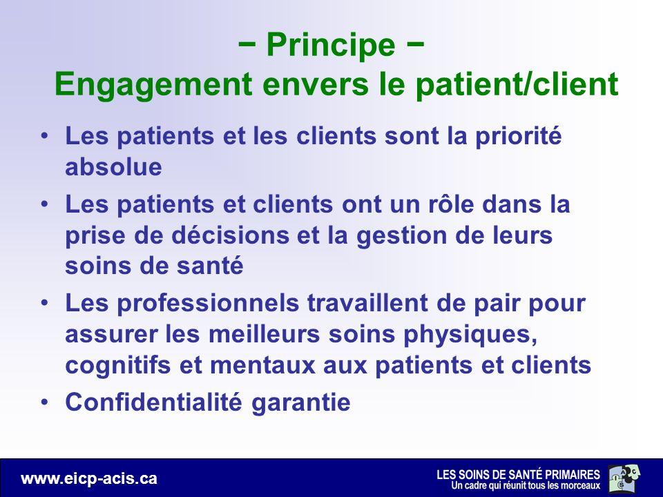 − Principe − Engagement envers le patient/client