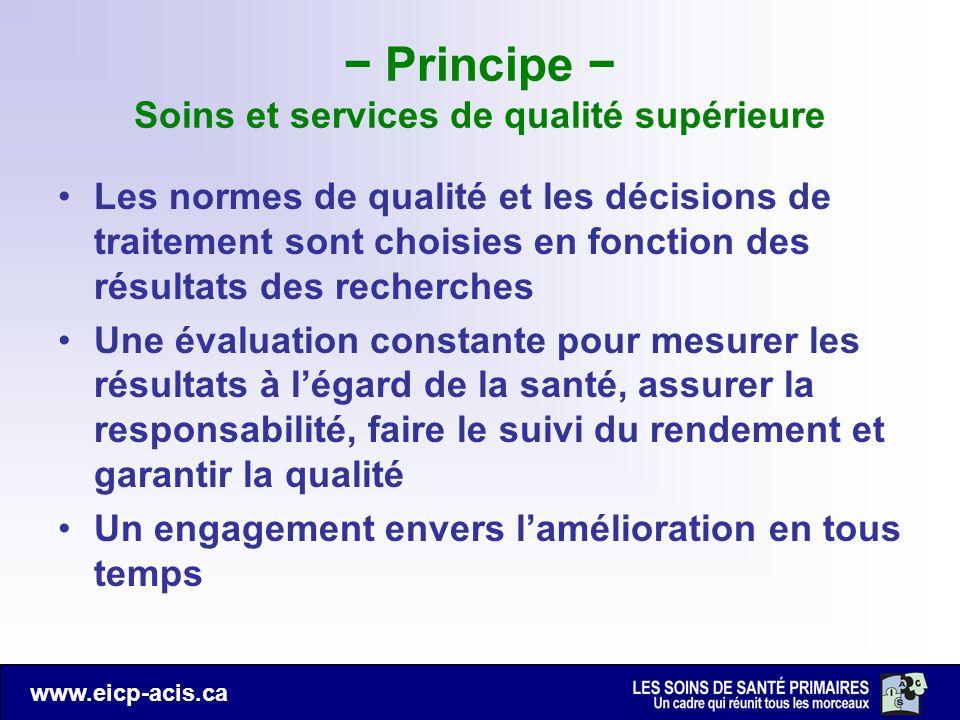 − Principe − Soins et services de qualité supérieure
