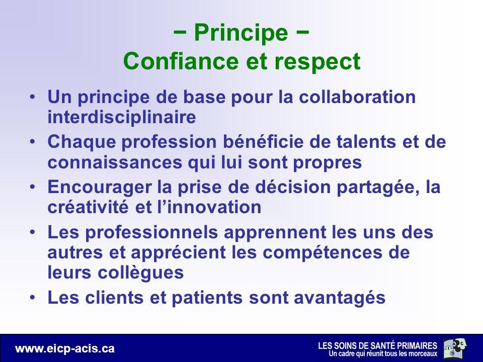 − Principe − Confiance et respect
