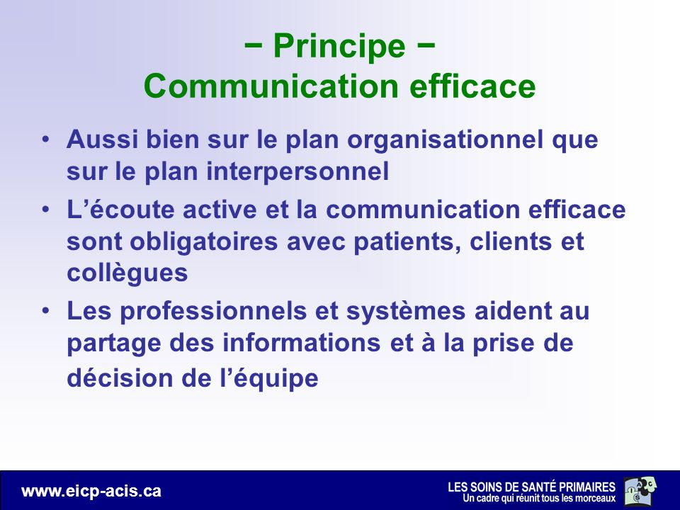 − Principe − Communication efficace