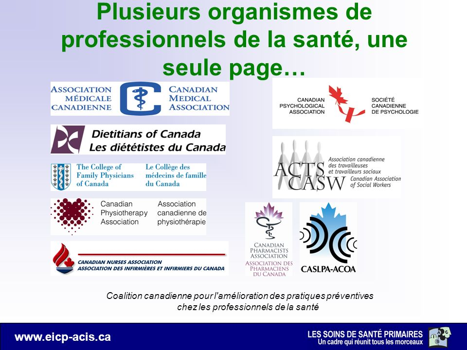Plusieurs organismes de professionnels de la santé, une seule page…