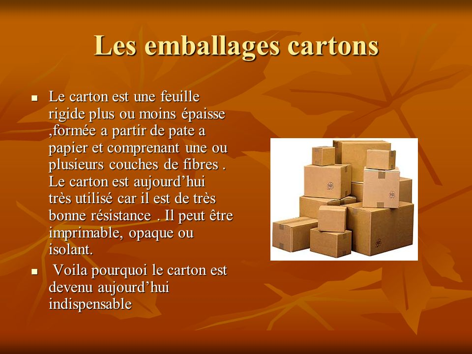 Les emballages cartons