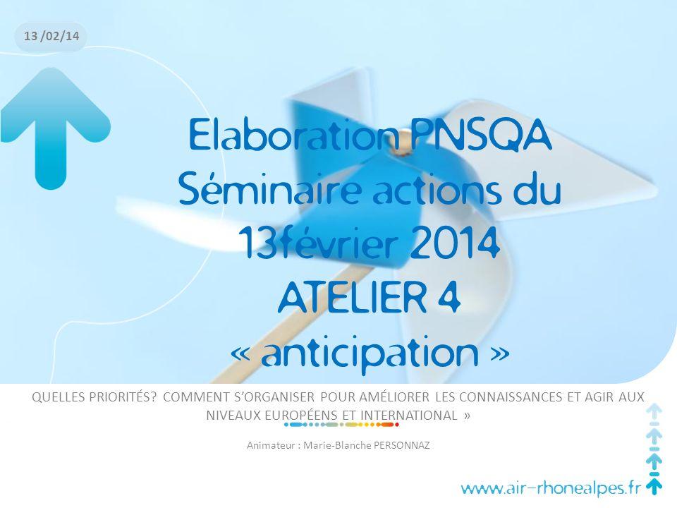Séminaire actions du 13février 2014 ATELIER 4 « anticipation »