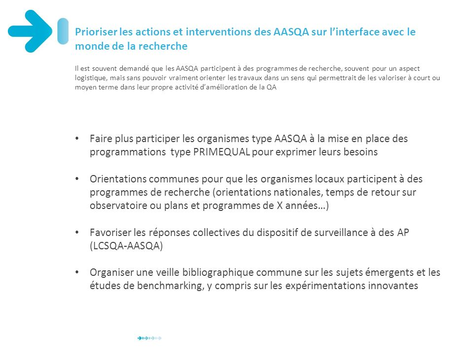 Prioriser les actions et interventions des AASQA sur l'interface avec le monde de la recherche