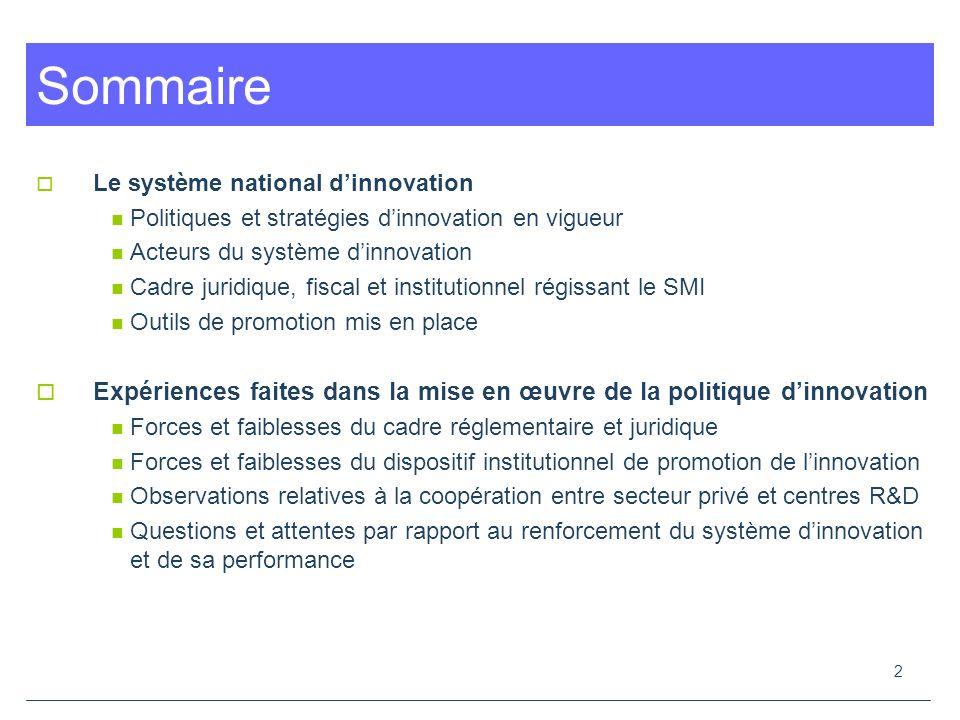 Sommaire Le système national d'innovation. Politiques et stratégies d'innovation en vigueur. Acteurs du système d'innovation.