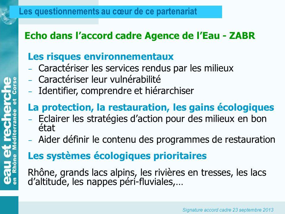 Echo dans l'accord cadre Agence de l'Eau - ZABR